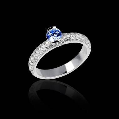 Blue Sapphire Engagement Ring White Gold Orphee