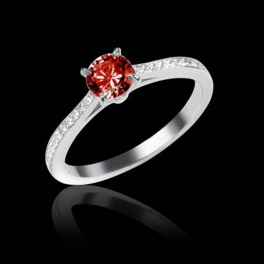 Ruby Engagement Ring Diamond Paving White Gold Elodie