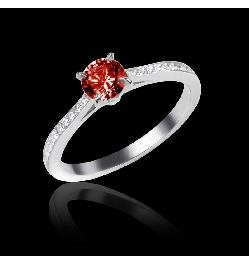 Ruby Engagement Ring Diamond Paving White Gold Elodie