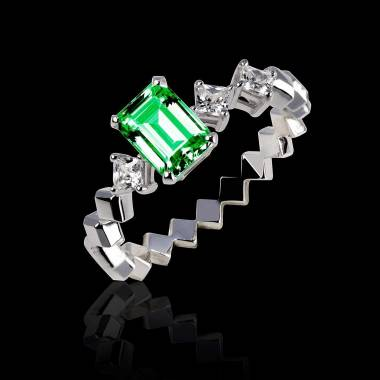 Emerald Engagement Ring White Gold Elsa