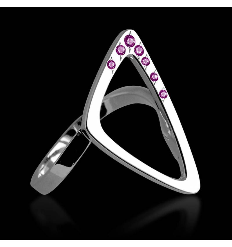 Pink Sapphire Engagement Ring White Gold Triangle