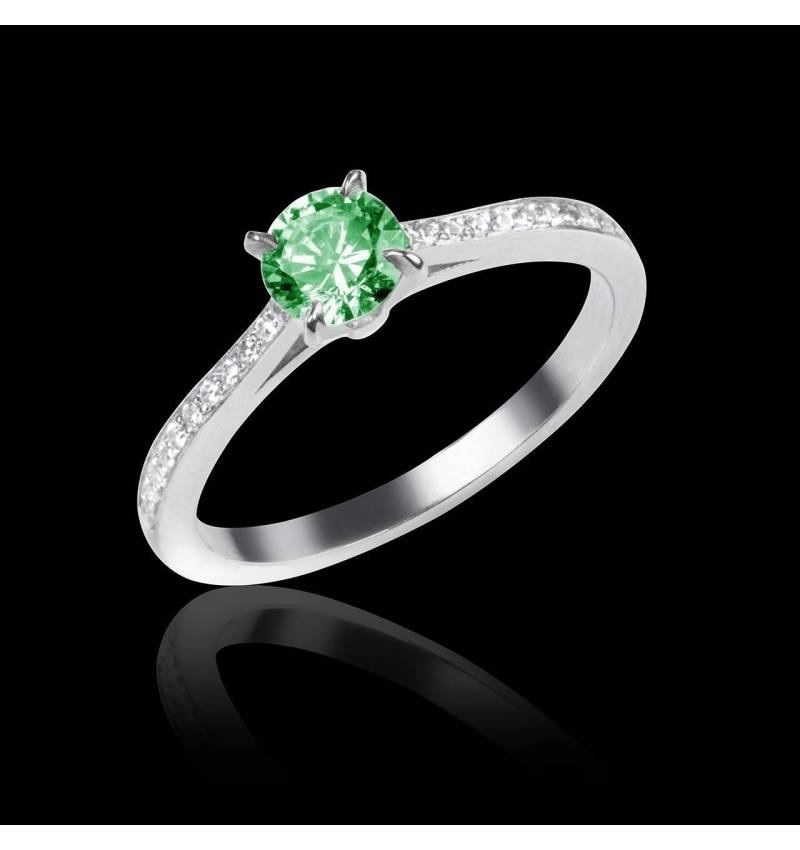 Emerald Engagement Ring  Diamond Paving  White Gold  Elodie