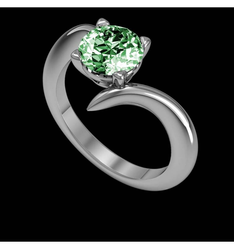 Emerald Engagement Ring White Gold Serpentine