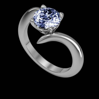 Blue Sapphire Engagement Ring White Gold Serpentine