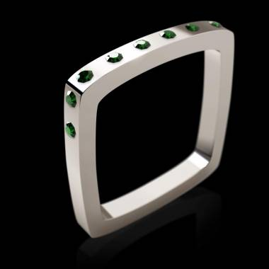 Engagement Ring Emerald Paving White Gold Square
