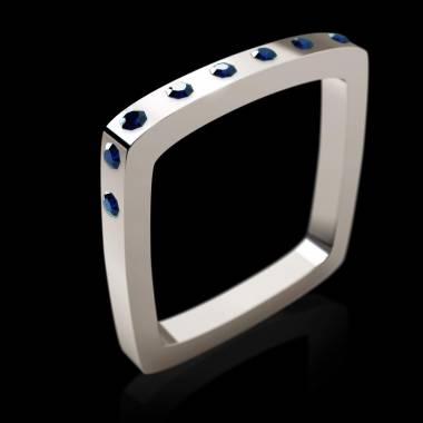 Engagement Ring Blue Sapphire Paving White Gold Square