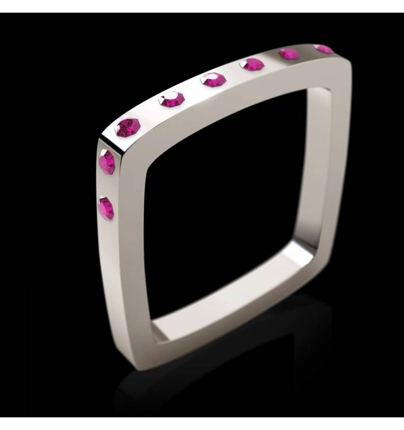 Engagement Ring Pink Sapphire Paving White Gold Square