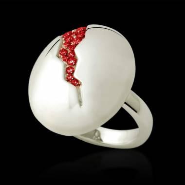 Engagement Ring Ruby Paving White Gold Quake