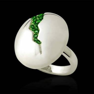 Engagement Ring Emerald Paving White Gold Quake