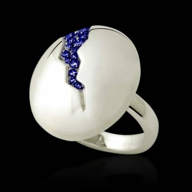 Engagement Ring Blue sapphire Paving White Gold Quake