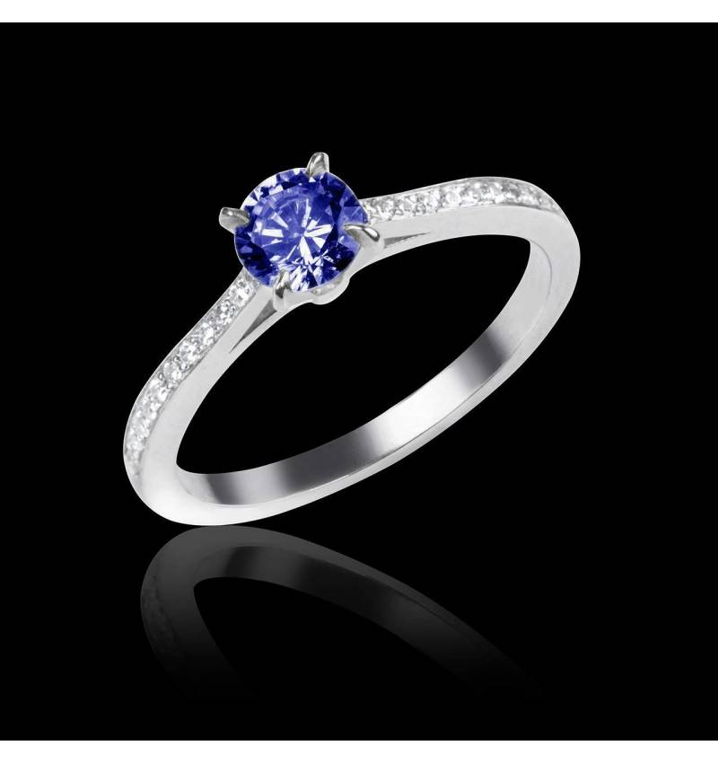 Blue Sapphire Engagement Ring Diamond Paving White Gold Elodie