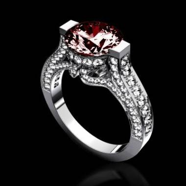 Ruby engagement ring diamond paving white gold Mount Olympus