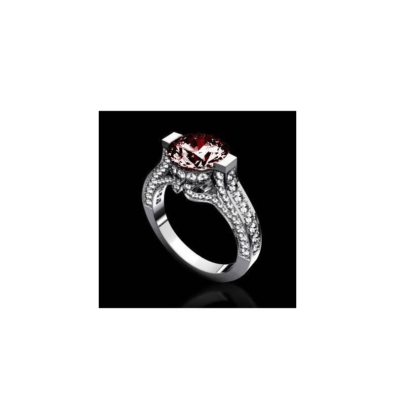 Ruby engagement ring diamond paving white gold Mount Olympus