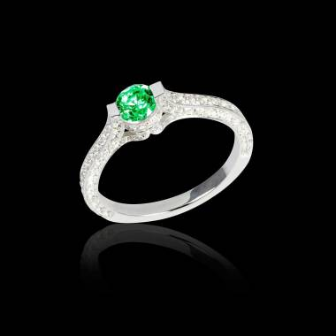 Emerald engagement ring diamond paving white gold Mont Olympus