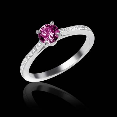 Pink Sapphire Engagement Ring Diamond Paving White Gold Elodie