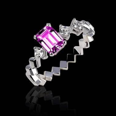 Pink Sapphire Engagement Ring White Gold Elsa