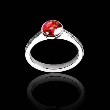Ruby Engagement Ring White Gold Moon
