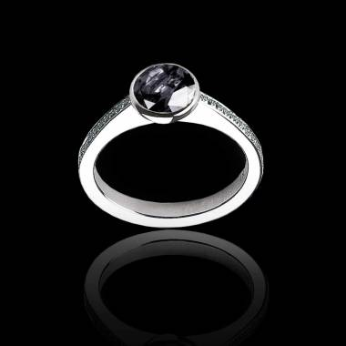 Black Diamond Engagement Ring White Gold Moon