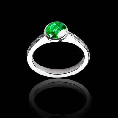 Emerald Engagement Ring White Gold Moon