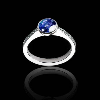 Blue Sapphire Engagement Ring White Gold Moon