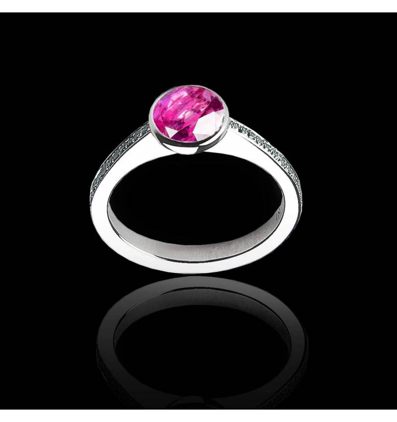 Pink Sapphire Engagement Ring White Gold  Moon
