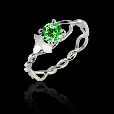 Emerald Engagement Ring White Gold Vigne