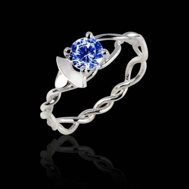 Blue Sapphire Engagement Ring White Gold  Vigne