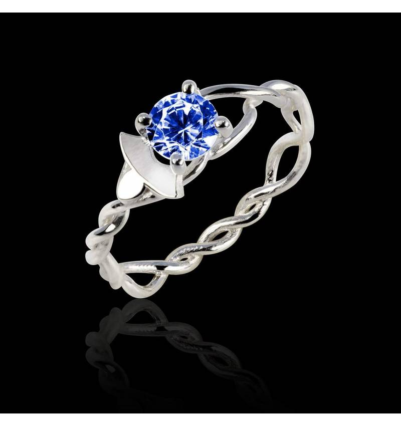 Blue Sapphire Engagement Ring White Gold  Vigne