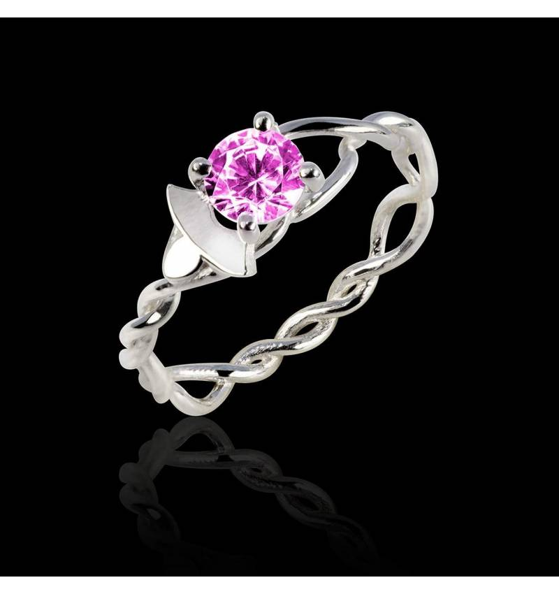 Pink Sapphire Engagement Ring White Gold Vigne