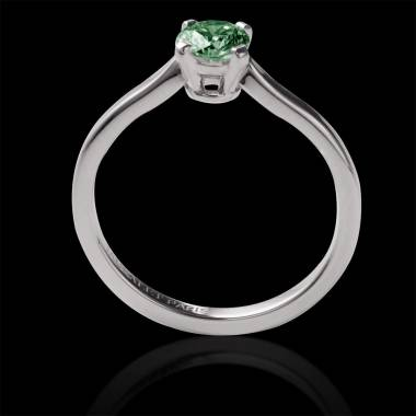 Emerald Round Engagement Ring White Gold Vanessa Solo