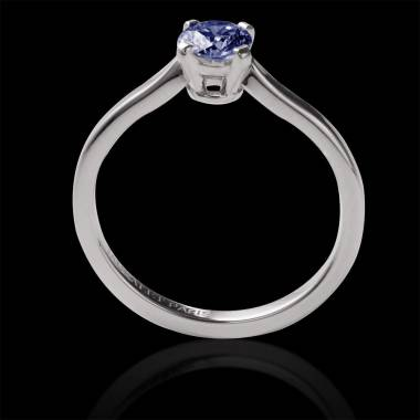 Blue Sapphire Round Engagement Ring White Gold Vanessa Solo