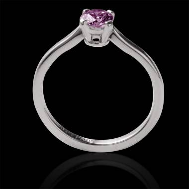 Pink Sapphire Round Engagement Ring White Gold Vanessa Solo