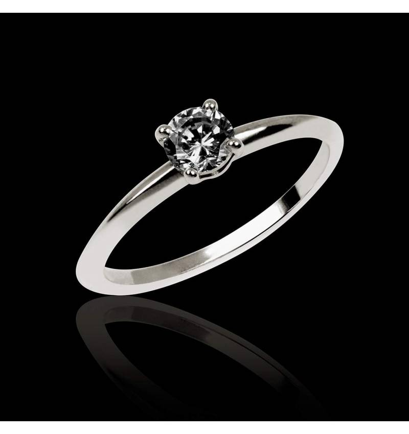 Black Diamond Engagement Ring White Gold Valentina