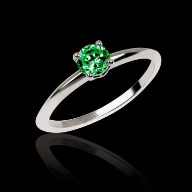 Emerald Engagement Ring White Gold Valentina