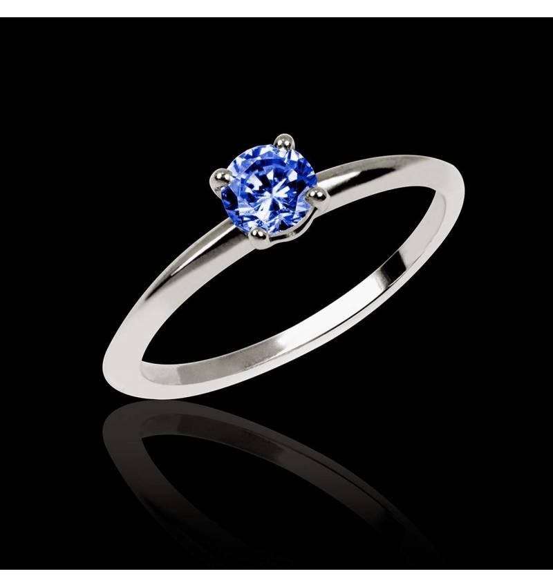 Blue Sapphire Engagement Ring White Gold  Valentina
