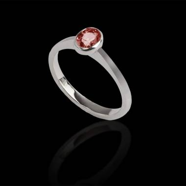 Oval ruby engagement ring white gold Moon solo