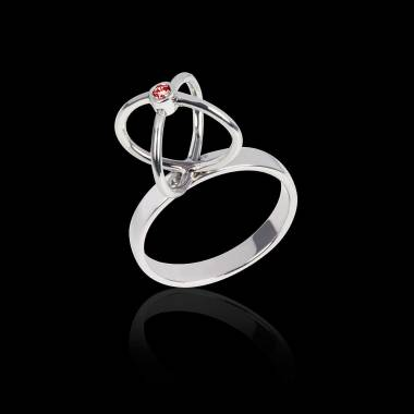Ruby Engagement Ring White Gold Cage