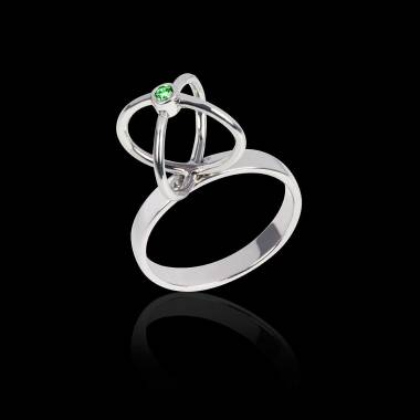 Emerald Engagement Ring White Gold Cage