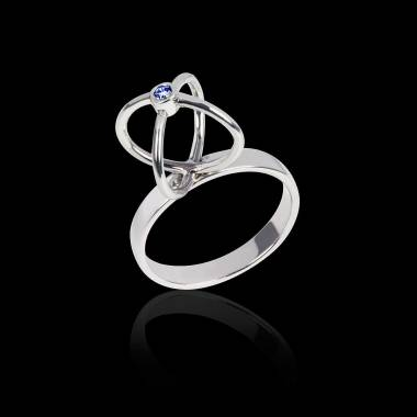 Blue Sapphire Engagement Ring White Gold Cage