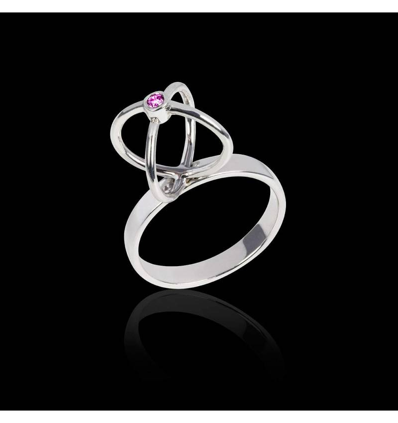Pink Sapphire Engagement Ring White Gold Cage