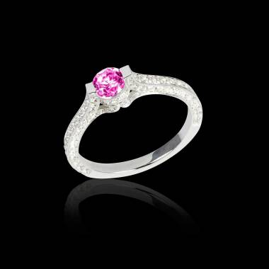 Pink sapphire engagement ring diamond paving white gold Mont Olympus
