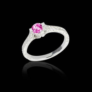 Pink sapphire engagement ring diamond paving white gold Mont Olympus