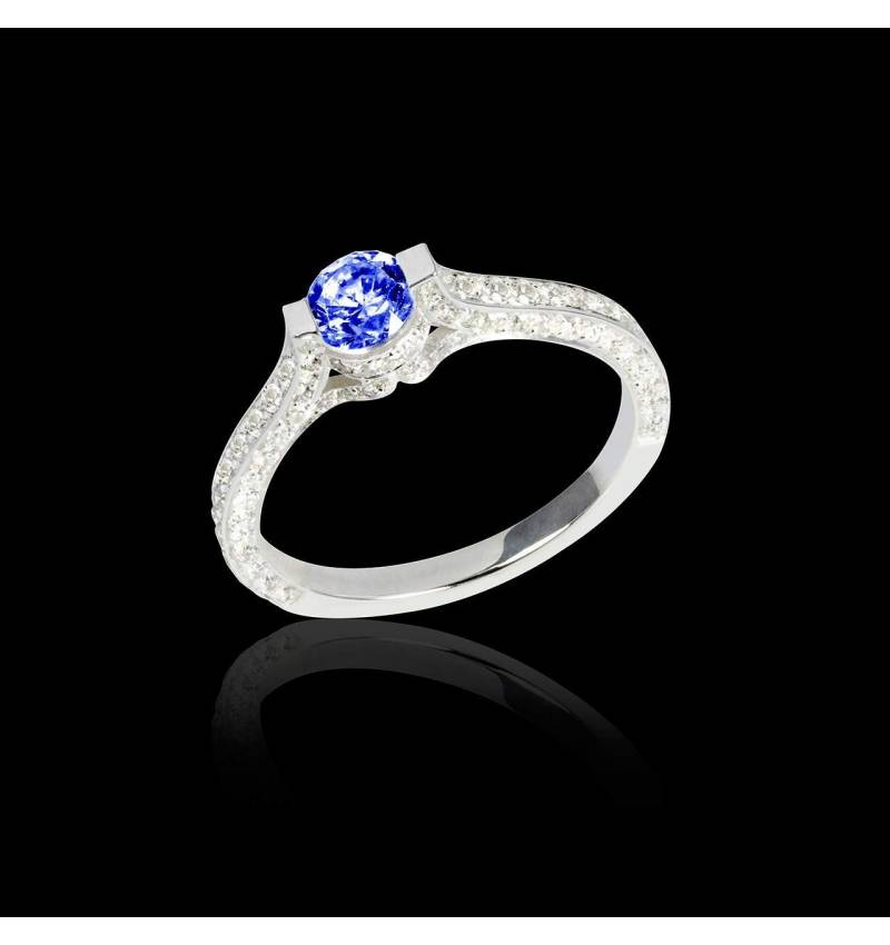 Blue sapphire engagement ring diamond paving white gold Mont Olympus