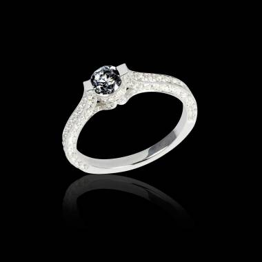 Black diamond engagement ring diamond paving white gold Mont Olympus