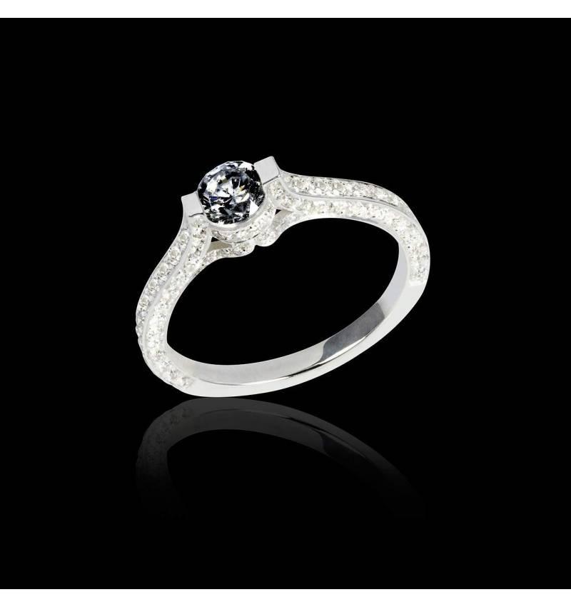Black diamond engagement ring diamond paving white gold Mont Olympus