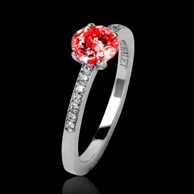 Ruby Engagement Ring Diamond Paving White Gold  Judith