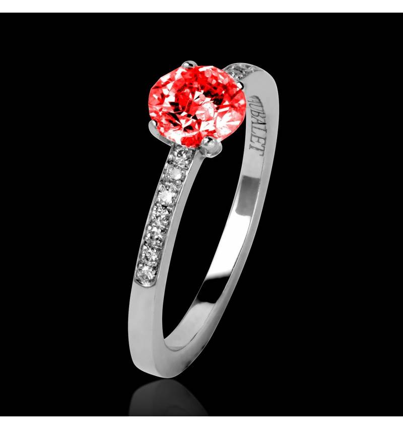 Ruby Engagement Ring Diamond Paving White Gold  Judith