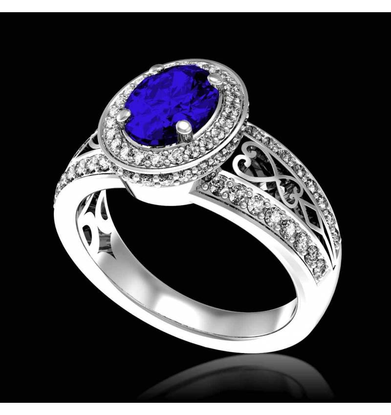 Blue Sapphire Engagement Ring Diamond Paving White Gold Tsarine
