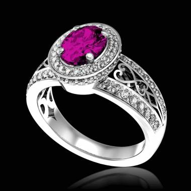 Pink Sapphire Engagement Ring Diamond Paving White Gold Tsarine