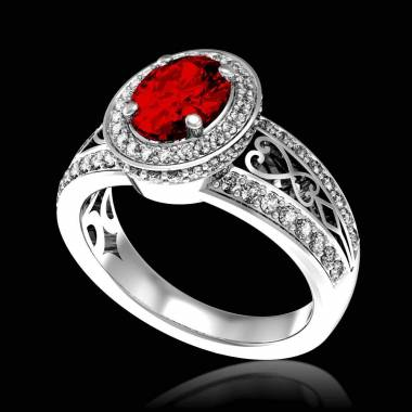 Ruby Engagement Ring Diamond Paving White Gold Tsarine